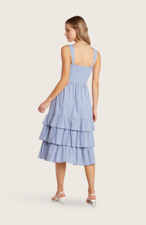 Willow-mary-jane-dress-3-tiered-midi-dress-bra-friendly-indigo-blue-striped