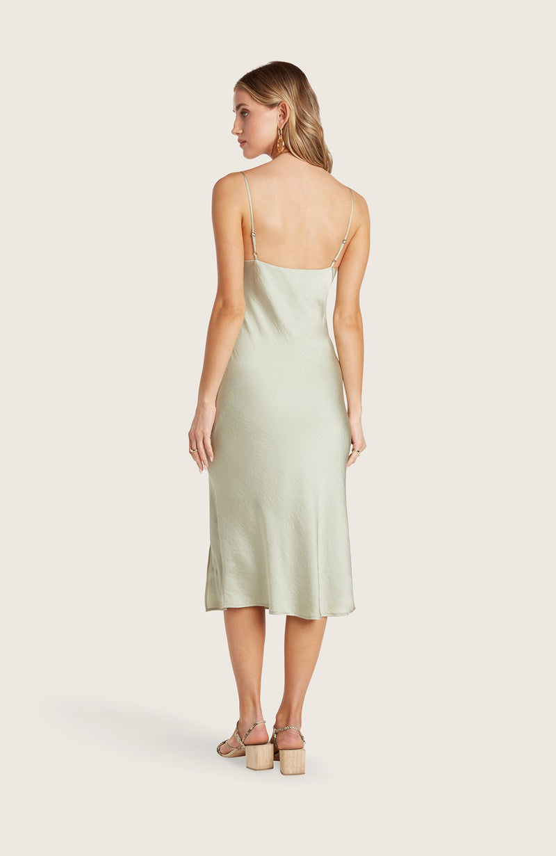 Willow-paige-dress-slip-silky-pistachio-green-vneck-adjustable-straps-spaghetti-straps-midi-length-high-slit