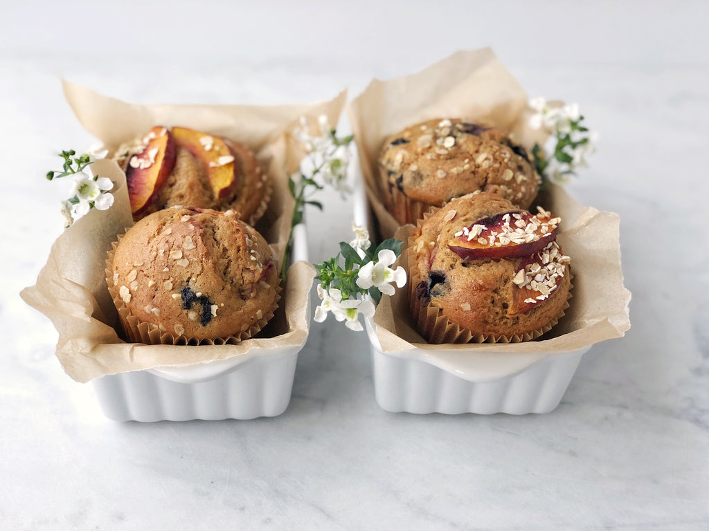 healthy peach blueberry muffin recipe