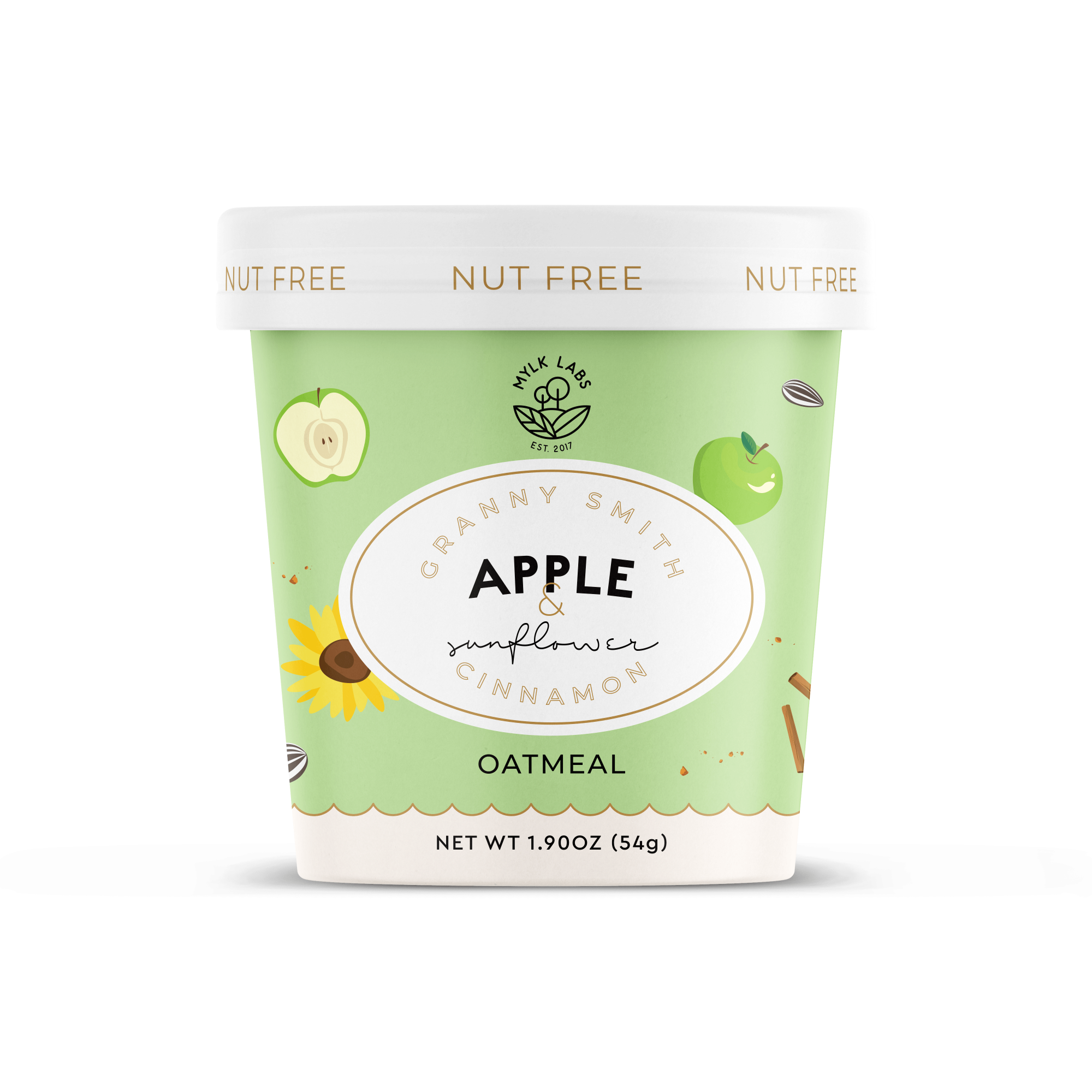 Mylk Labs Gluten Free High Protein Instant Oatmeal — Nut Free Granny Smith Apple and Sunflower Cinnamon Oatmeal Cup — Kilned Thin Rolled Whole Grain Oats allergen friendly in a Travel Cup — Non-GMO, No Artificial Ingredients, Vegan,  No Refined Sugar