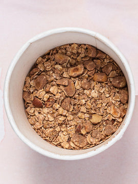 Roasted Hazelnut & Dominican Cacao flavor instant oatmeal.  Each cup is insulated and travel ready for an easy grab and go morning.