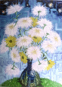 Still Life with Fuji (Spider) Mums and Daisy Poms