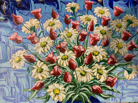 Still Life with Daisies and Tulips, #2 1