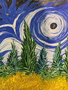 Blue Sky with Black Hole Over Yellow Wheatfield