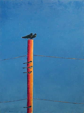 Birds Perched On A Pole 2