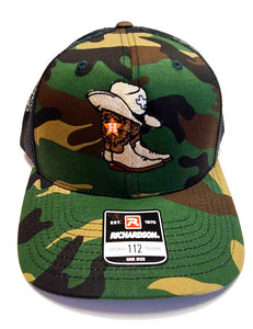 Houston Astros Western Themed Camo and black Richardson 112 Trucker cap front view