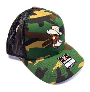 Houston Astros western themed cap quarter view on a Richardson 112 camo and black trucker cap
