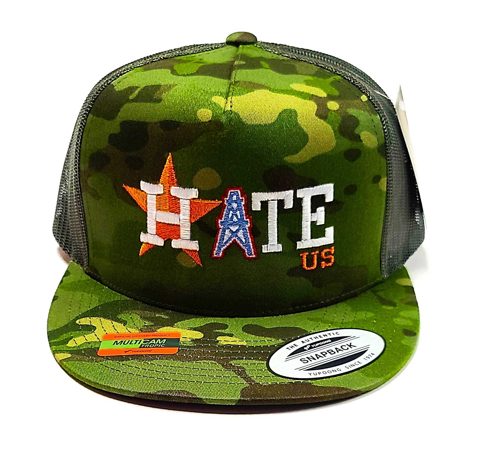 Houston Astros Hate Us Featuring Oilers Derrick on a 5 panel flat bill camo classic trucker cap front view