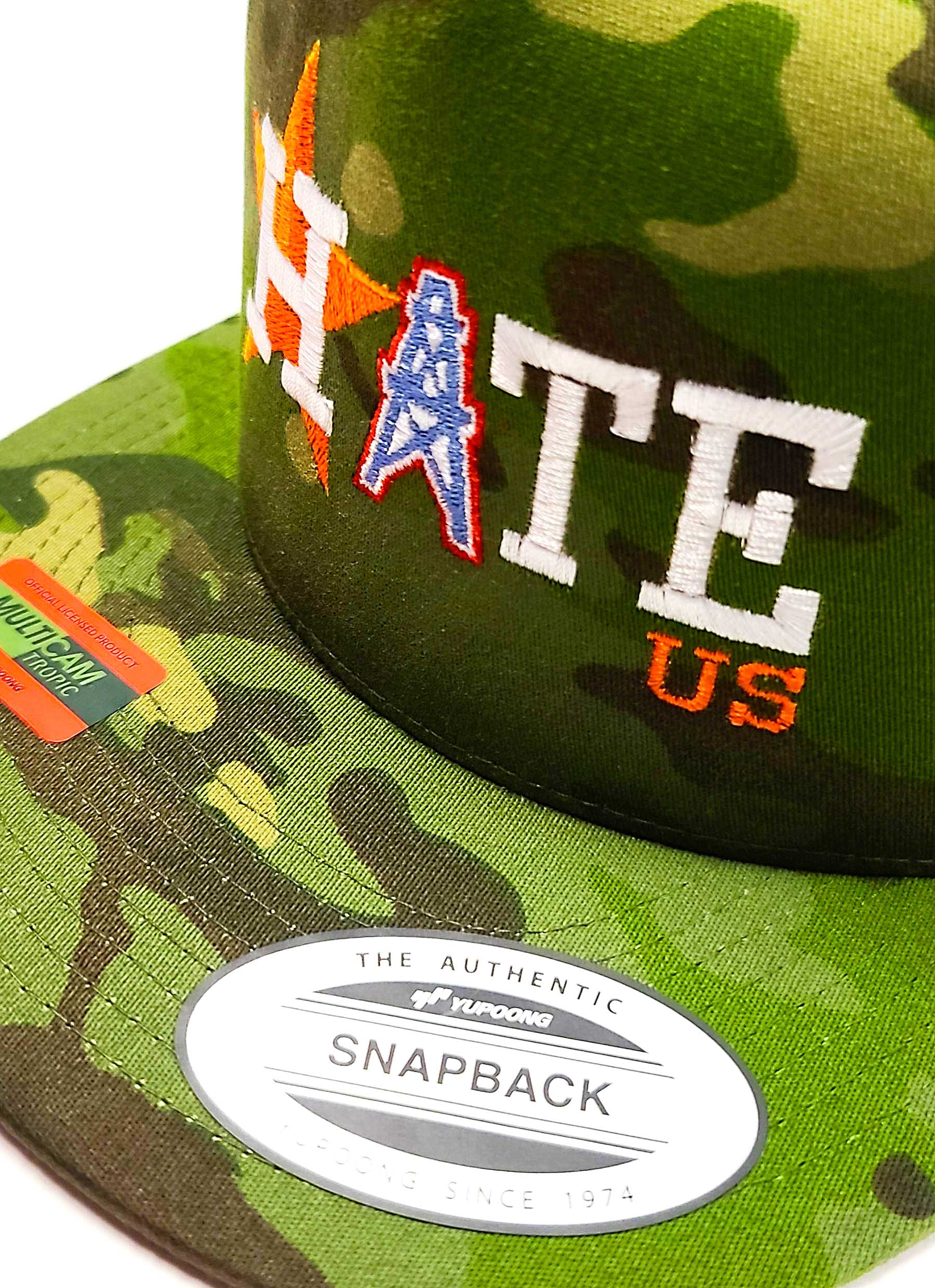 Houston Astros Hate Us Featuring Oilers Derrick on a 5 panel flat bill camo classic trucker cap logo view