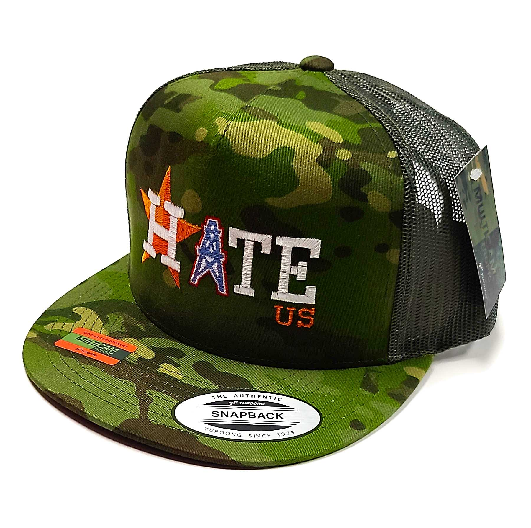 Houston Astros Hate Us Featuring Oilers Derrick on a 5 panel flat bill camo classic trucker cap