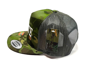 Houston Astros Hate Us Featuring Oilers Derrick on a 5 panel flat bill camo classic trucker cap side view