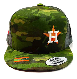Houston Astros Star logo with the Texas flag on the side of a 5 panel Camo classic trucker cap front view