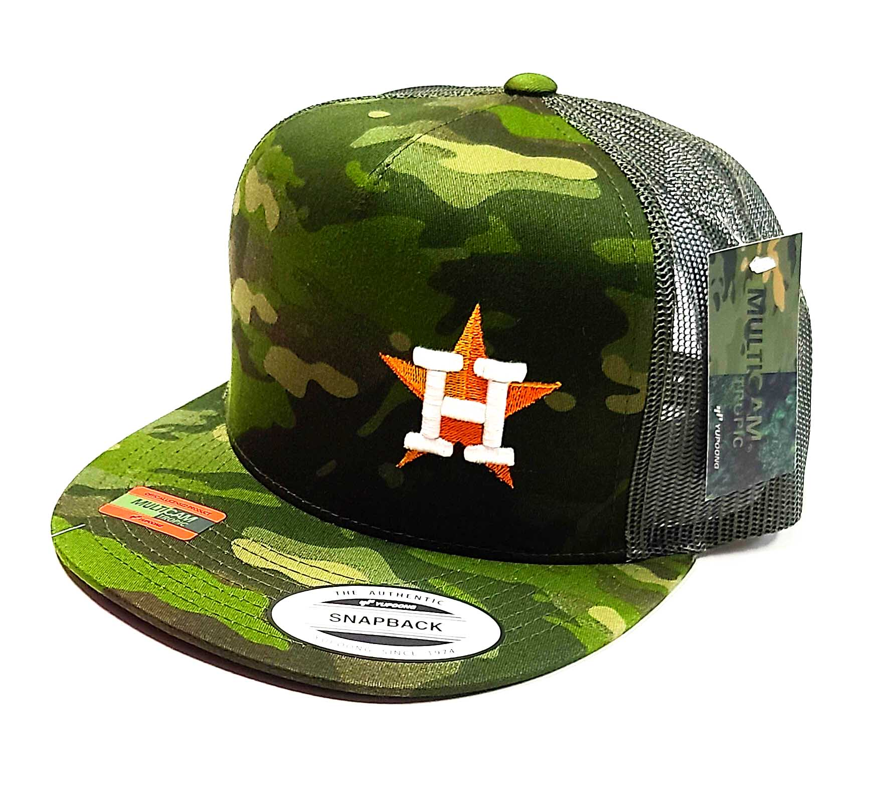 Houston Astros Star logo with the Texas flag on the side of a 5 panel Camo classic trucker cap
