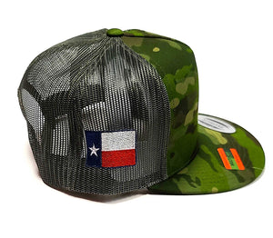 Houston Astros Star logo with the Texas flag on the side of a 5 panel Camo classic trucker cap side view