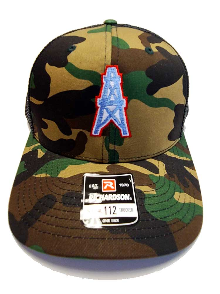 Houston Oilers Richardson 112 Camo and black trucker cap front view