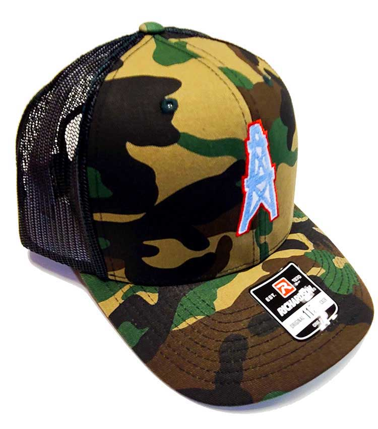Houston Oilers Richardson 112 Camo and black trucker cap quarter view