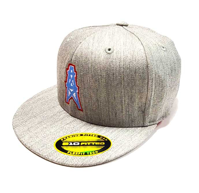 Houston Oilers Flexfit 6210 Heather Grey Cap Quarter View