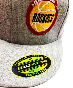 Houston Rockets Heather Grey 6210 Semi Fitted Cap with old school logo label view