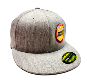 Houston Rockets Heather Grey 6210 Semi Fitted Cap with old school logo