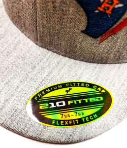 Houston Astros, Rockets, and Texans design embroidered on a Flexfit 6210 cap label view