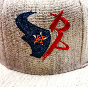 Houston Astros, Rockets, and Texans design embroidered on a Flexfit 6210 cap logo view