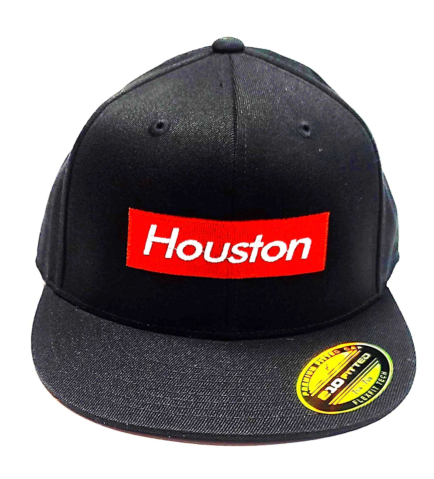 Houston Supreme logo on a Flexfit 6210 semi fitted cap front view