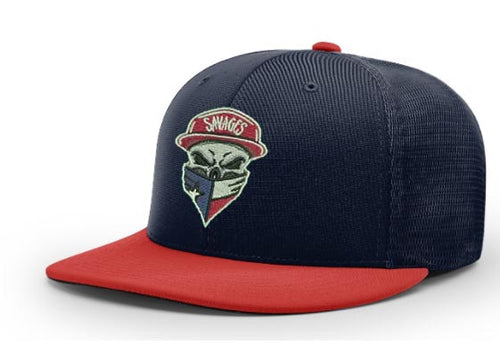 Richardson PTS20M navy blue with red bill embroidered with  original Savages Skull Logo