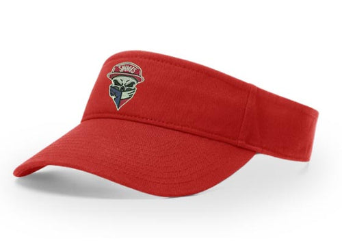 Richardson R45 Garment Washed Red Visor with original Savages Skull Logo embroidered