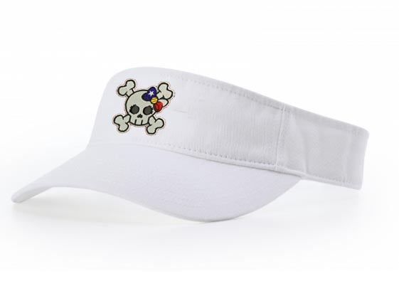 Richardson R45 Garment Washed White Visor with Savages Softball  Skull Logo embroidered