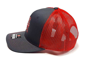 U of H Charcoal and Red Richardson 112 Trucker cap side view