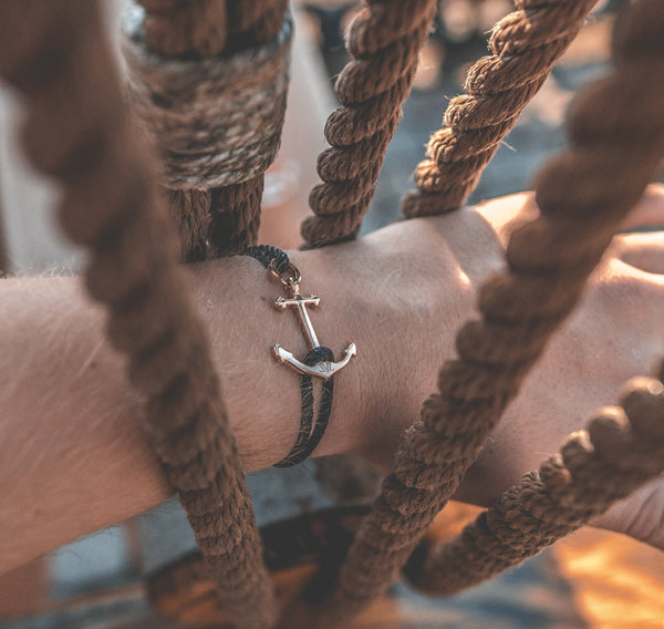 Fearless Black Anchor Bracelet