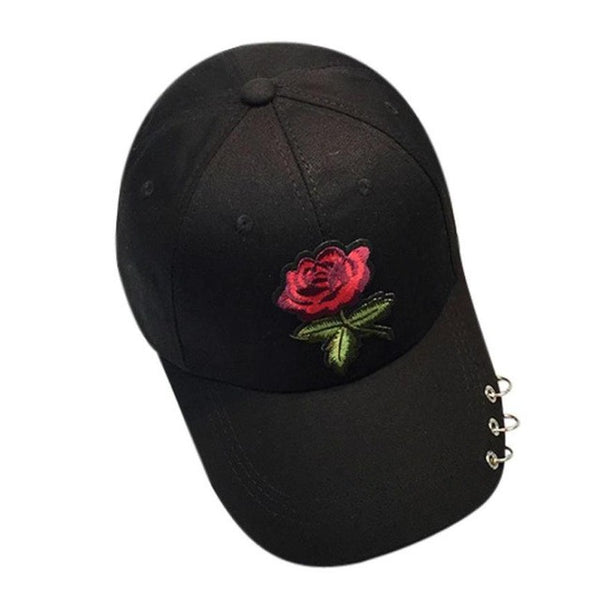 Fashion Brand Caps Women Men 2017 Couple Rose Embroidery Baseball Cap Unisex Iron Ring Snapback 100% cotton Hiphop Flat Hat bone