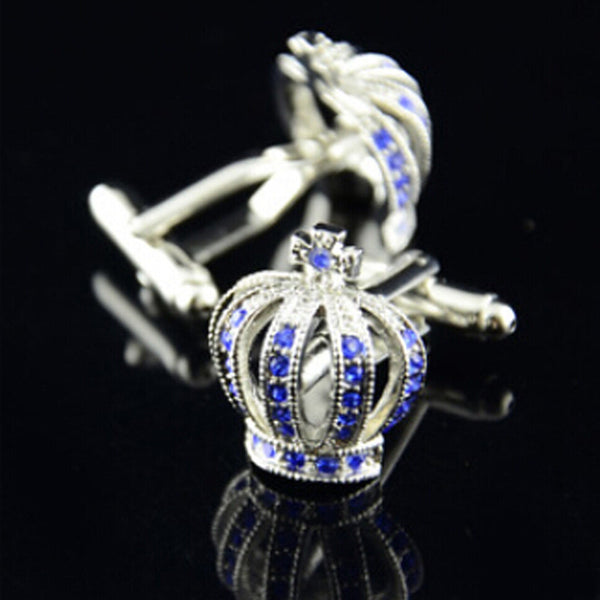 Stainless Steel Vintage Mens Wedding Gift Imperial Crown Cufflinks Blue