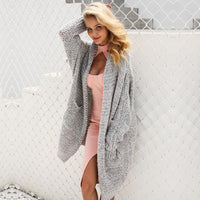 Simplee Casual knitting long cardigan female Loose cardigan knitted jumper 2017 warm winter sweater women cardigan