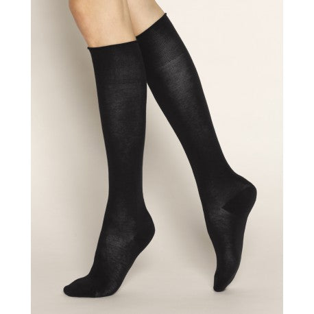 Velvet Combed Cotton Kneehighs - Black