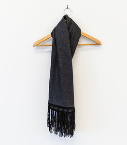 Cashmere Scarf with Suede Fringes - Charcoal Grey