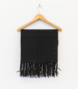 Cashmere Scarf with Suede Fringes - Black