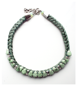 Chloe Light Green Braided  Necklace