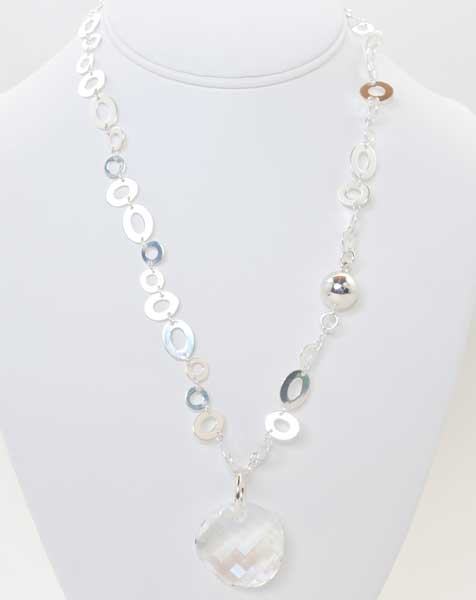 Silver Necklace with Swarovski Crystal Pendant