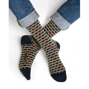 Geometric Lattice Pattern Men Cotton Socks