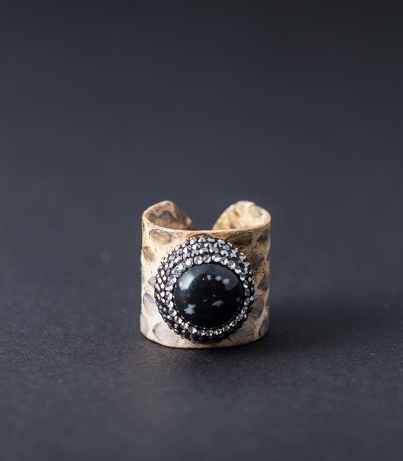 Leather Ring with Black Agate