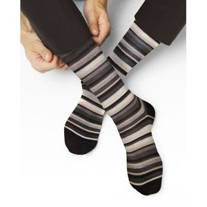 London Striped Mercerised Cotton Socks - Charcoal Grey