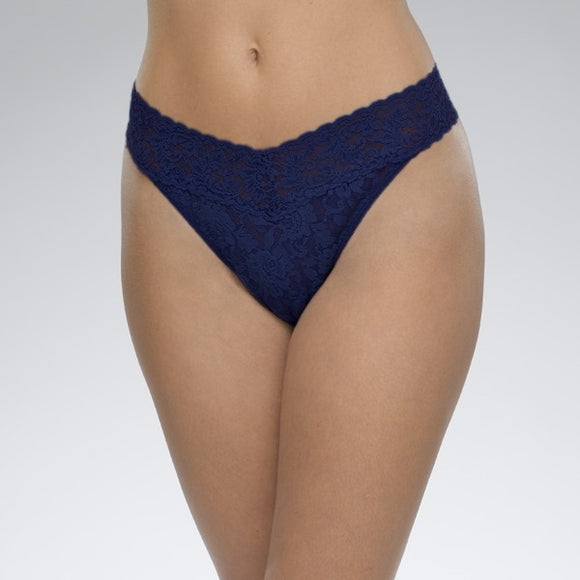 Hanky Panky Original Thong - Navy Blue with Crystals