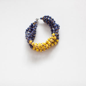 Blue and Yellow Paper Bead Bracelet