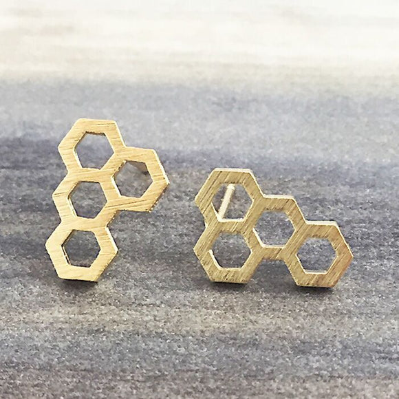 Gold Honeycomb Stud Earring