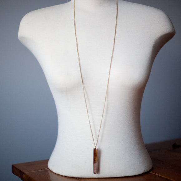 Brown Bone Bar Long Necklace
