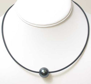 Single Shell Pearl Pendant on Rubber Cord - Black