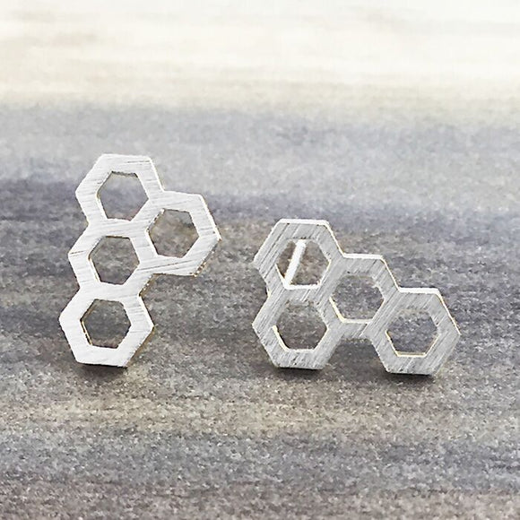 Silver Honeycomb Earring