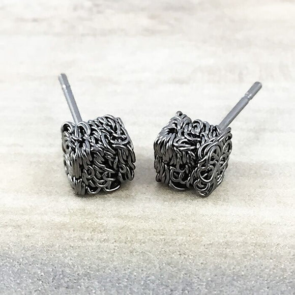 Gunmetal Textured Cube Earring