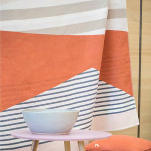 Sylt Geometric Throw in terracotta/ blue